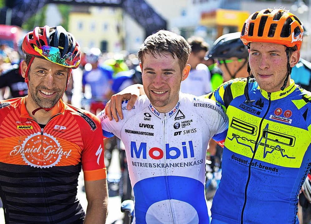 Siegertrio: Christian Kreuchler (Mitte... Kieninger (rechts) und Daniel Gathof.  | Foto: Wolfgang Scheu