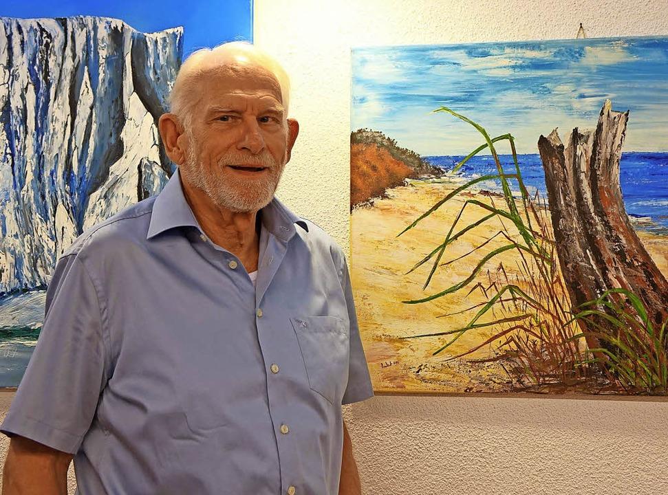 Maler aus Leidenschaft: Karl-Heinz Bra...n, Tiermotive und abstrakte Arbeiten.     Foto: Roswitha Frey