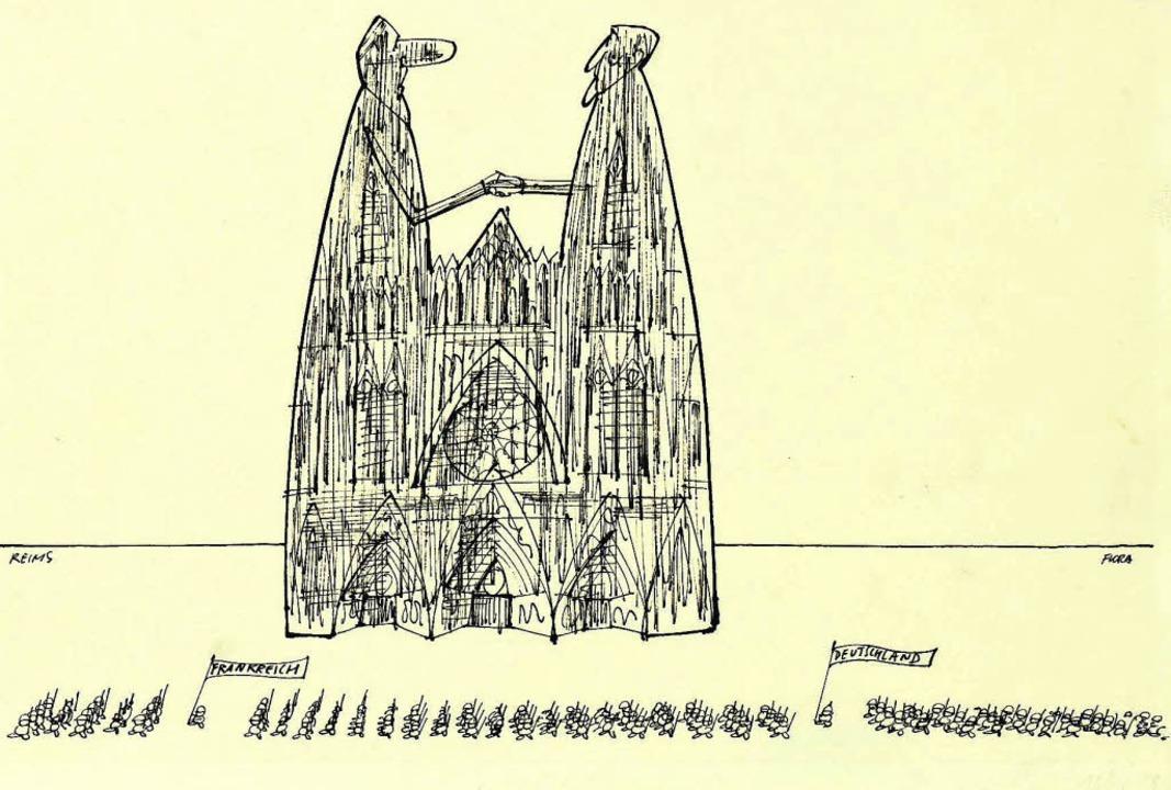 Paul Flora war auch ein politischer Ka...vbild einer Ausstellung in Straßburg.     Foto: zvg