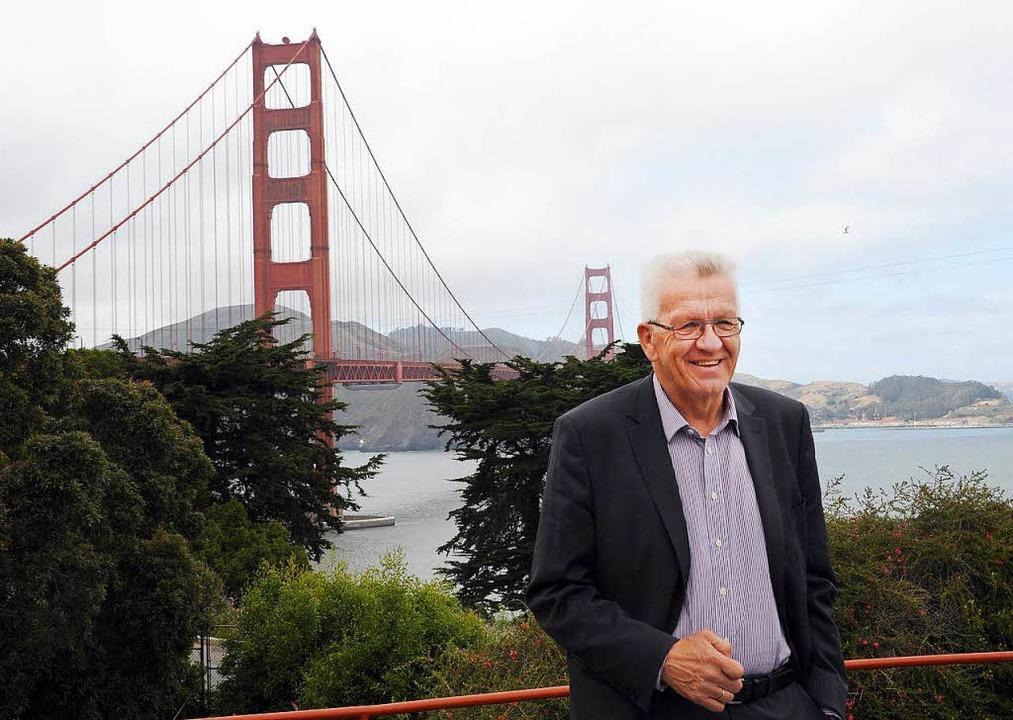 2015 war Kretschmann zuletzt in den USA (hier in San Francisco).  | Foto: dpa