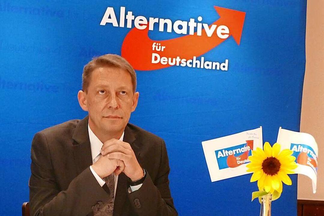 Ralf Özkara, Co-Landessprecher der AfD...er Oberbürgermeisterwahl in Offenburg.  | Foto: Ralf Burgmaier