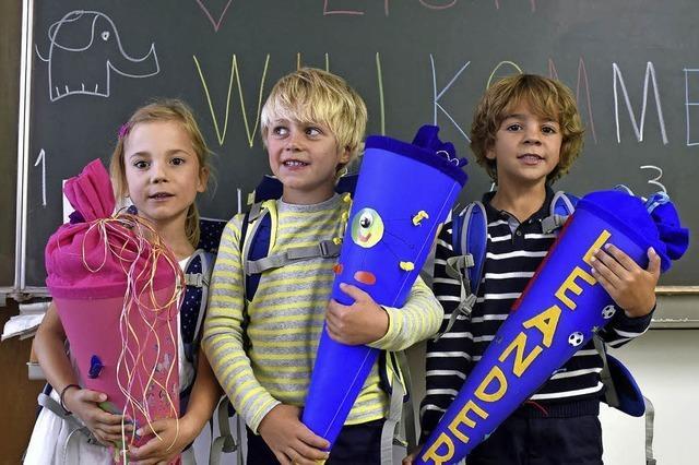 Die Erstklässler kommen – so wie Marie, Max und Leander in die Schönbergschule