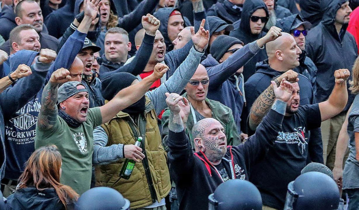 Kundgebung der rechten Szene am 27. August 2018 in  Chemnitz  | Foto: DPA