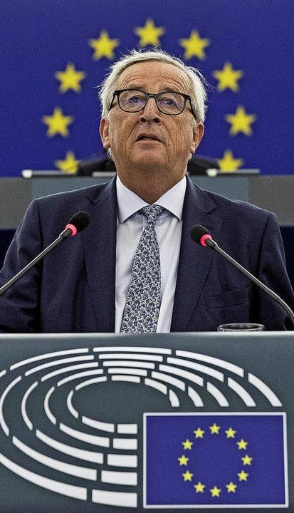 Juncker hält seine letzte Rede zur Lage der EU.   | Foto: DPA