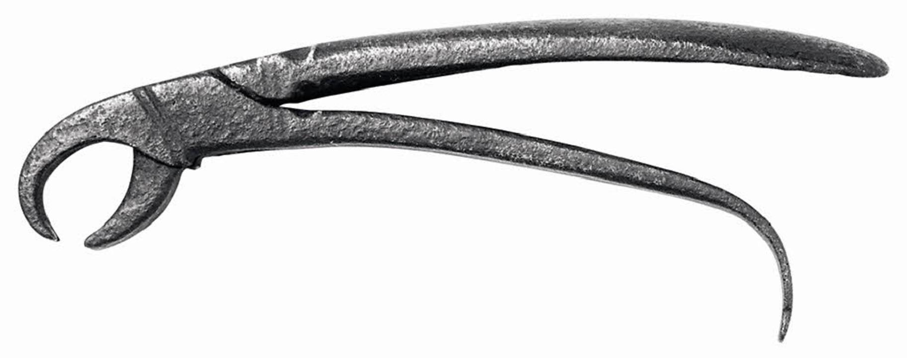 Ein gruseliges Instrument: Zange aus dem 16. Jahrhundert    Foto: verlag