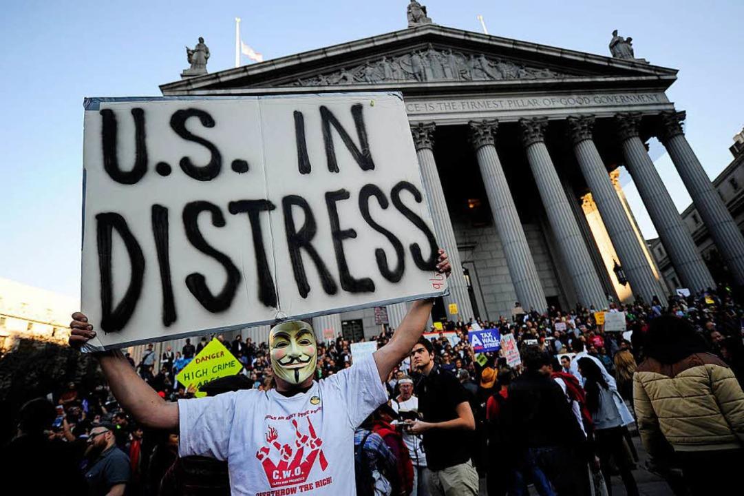 Proteste gegen die Finanzwelt gab es i...ht nur an der Wall Street in New York.  | Foto: AFP