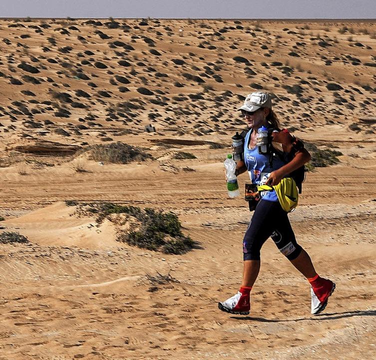 400 Kilometer allein durch die Wüste G...Löffingen an eine Schule in Dunhuang.     Foto: Privat