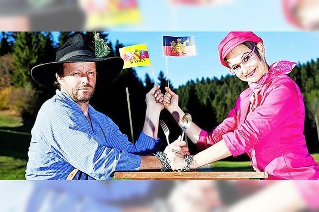 65 Jahre BW: Martin Wangler als Fidelius Waldvogel mit Heike Sauer als schwäbische Dialekt-Queen in Breitnau