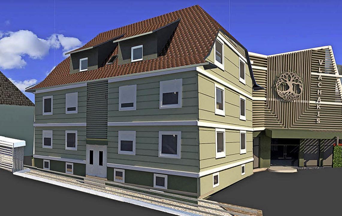 So soll das Gebäudeensemble an der B3 in Heitersheim einmal aussehen.   | Foto: Illustration: Vlachakis