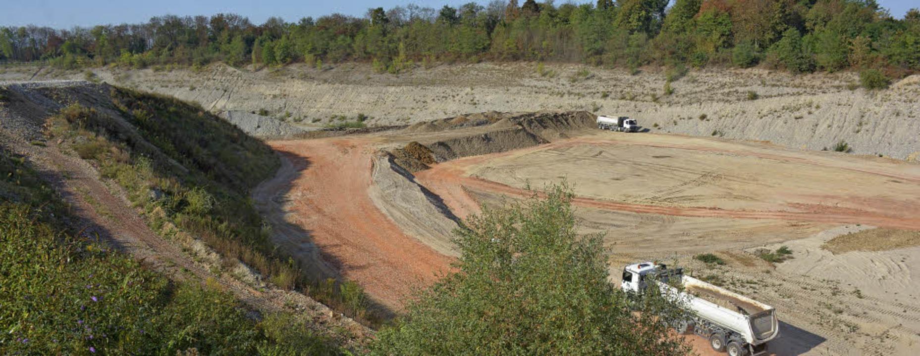 In der Holcim-Grube wird derzeit ein D... des umliegenden Geländes aufgefüllt.   | Foto: Lauber