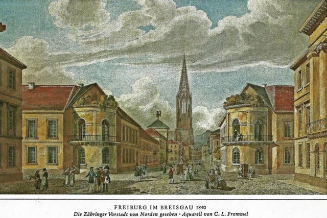 Eine Ansichtskarte aus dem 19. Jahrhundert zeigt die Zähringer Vorstadt, wie sie niemals war