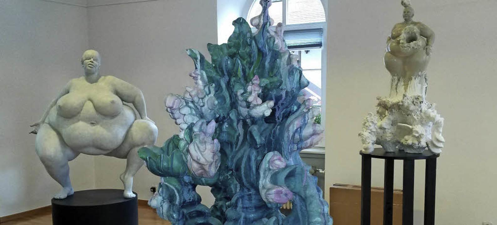 Die Drastik im barocken Ausdruck ist b...ittel der Skulpturen von Miriam Lenk.   | Foto: Dierk Knechtel