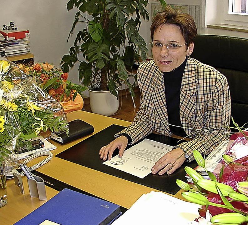 Edith Schreiner nach der Wahl  zur Oberbürgermeisterin 2002.  | Foto: Frank Leonhardt