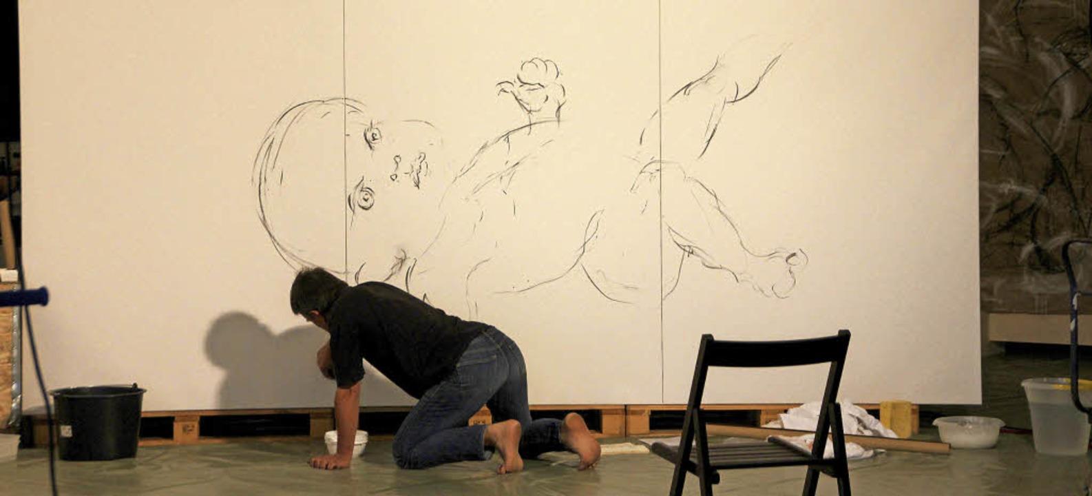 Thomas Oehm an seinem Werk   | Foto: Erika Sieberts