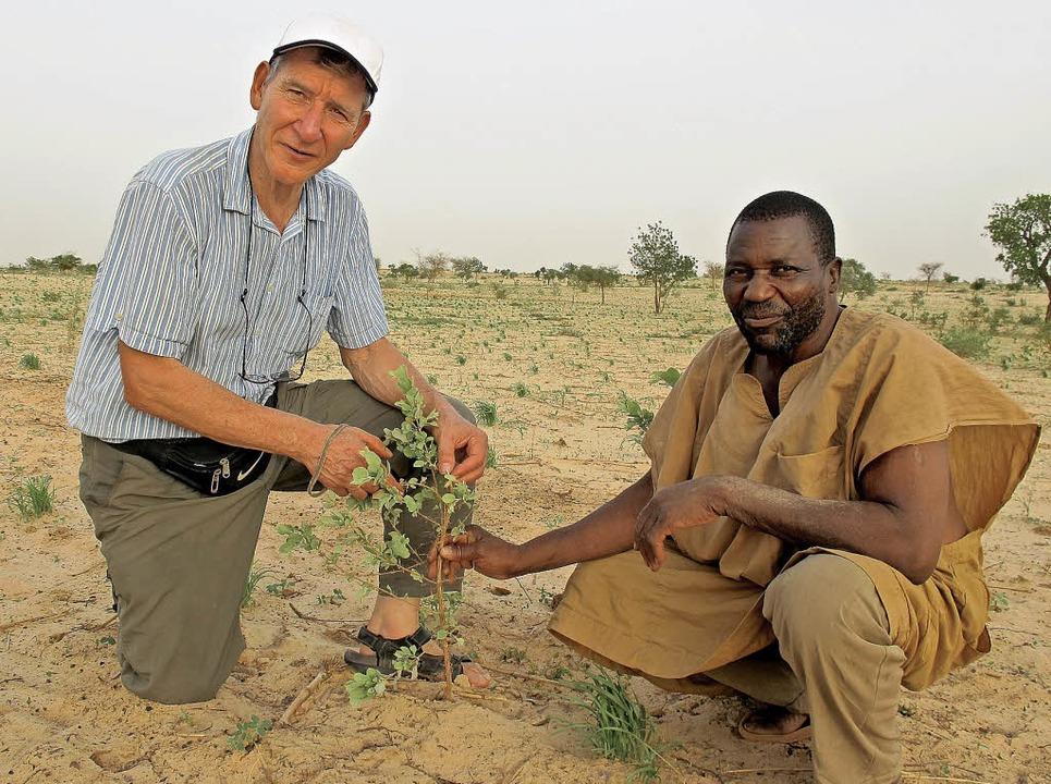 Tony Rinaudo (links) und der Dorfältes...n Netzwerk von Wurzeln hervorwachsen.   | Foto: Dieterich