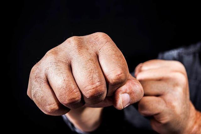 Fünf Männer treten und schlagen auf Passanten ein