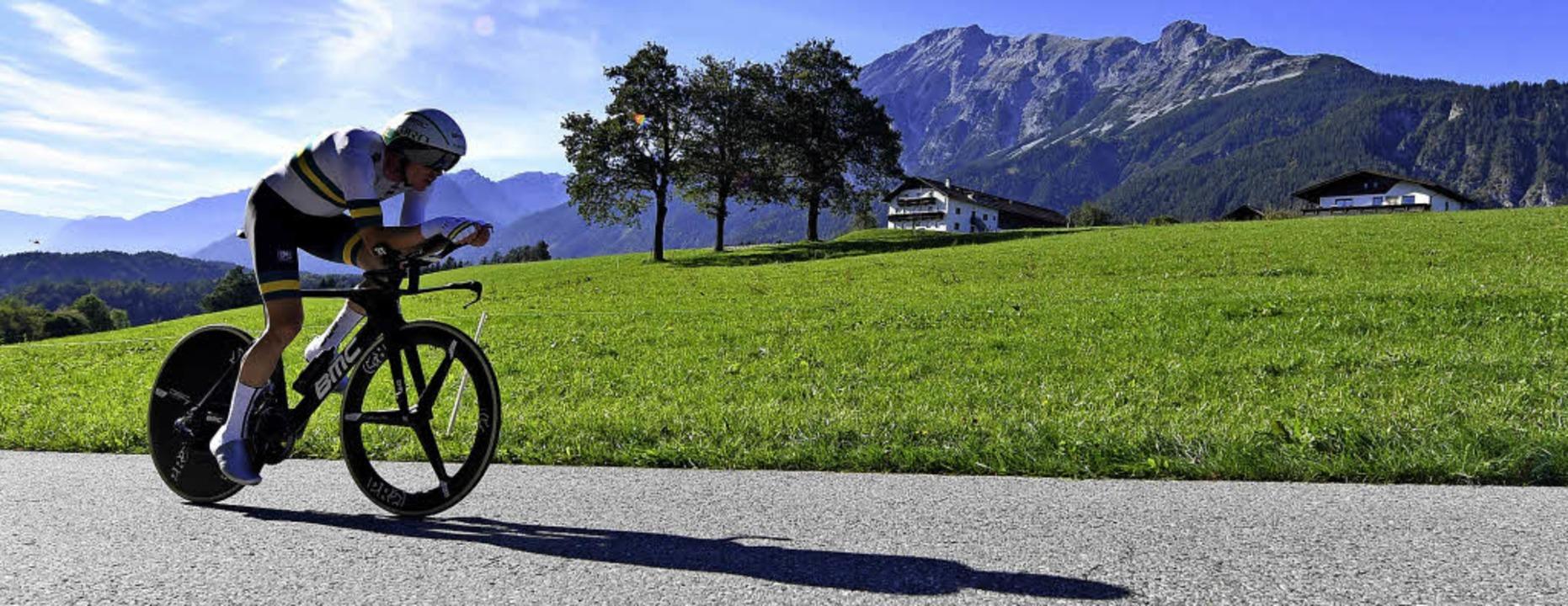 Nach den flachen Strecken im Zeitfahre...Abschluss der Rad-WM deutlich steiler.  | Foto: dpa