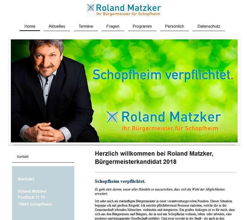 Website des Bürgermeisterkandidaten Roland Matzker  | Foto: Screenshot