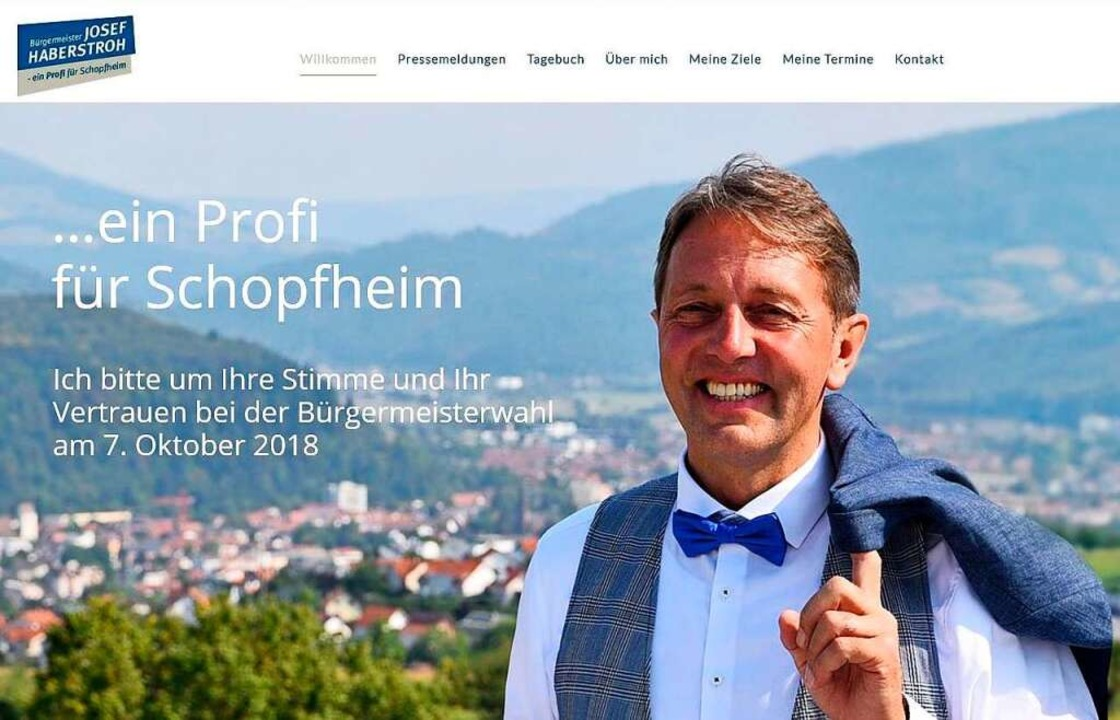 Website des Bürgermeisterkandidaten Josef Haberstroh  | Foto: Screenshot