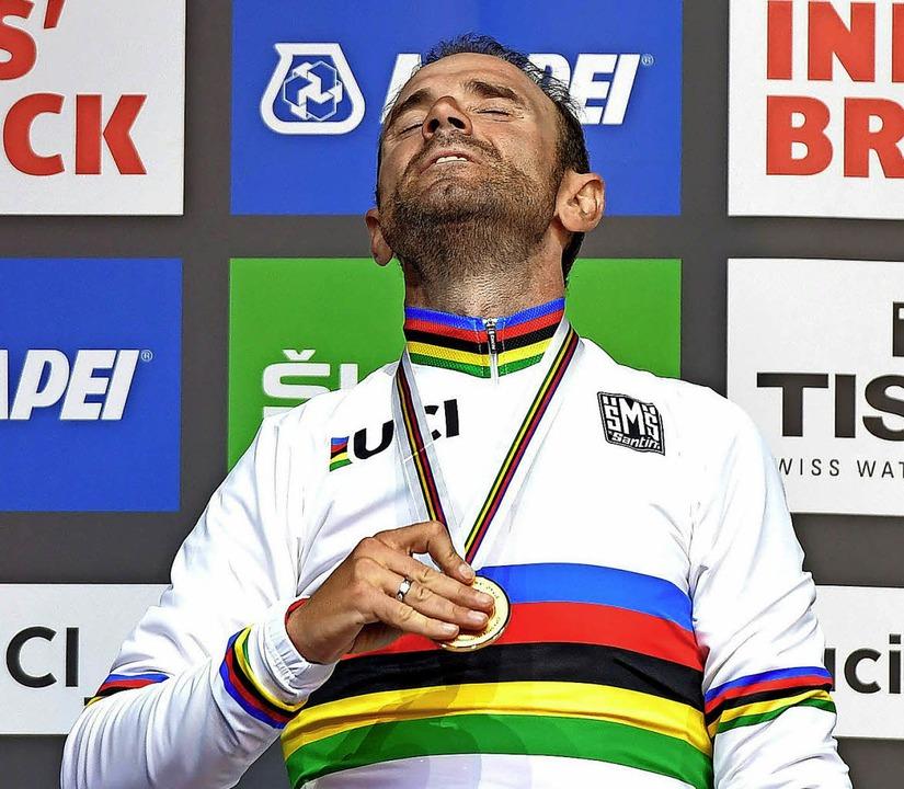 Stolz wie Oskar – trotz Doping-Vergangenheit: Alejandro Valverde   | Foto: afp