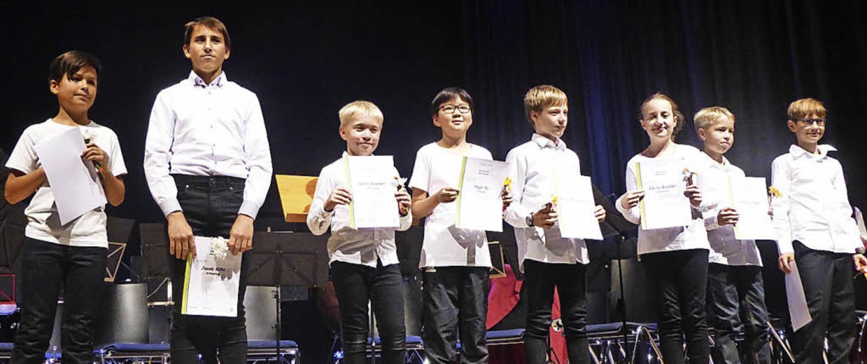 Hochmotiviert: der Nachwuchs im Musikv...nden für die erste bestandene Prüfung.    Foto: Anne Freyer