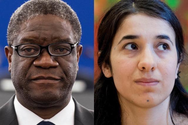 Friedensnobelpreis 2018 geht an irakische Jesidin und kongolesischen Arzt
