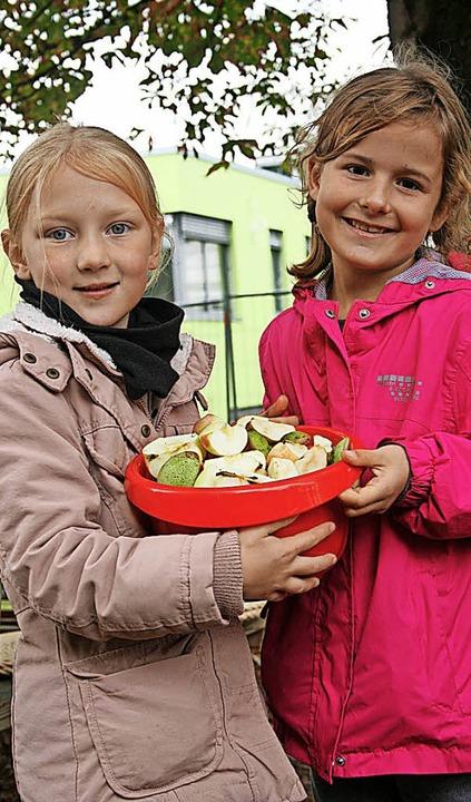 Vom Obst zum Saft: Auf ihren eigenen A...(rechts) beim Maulburger Dorfstübli.    | Foto: Ralph Lacher