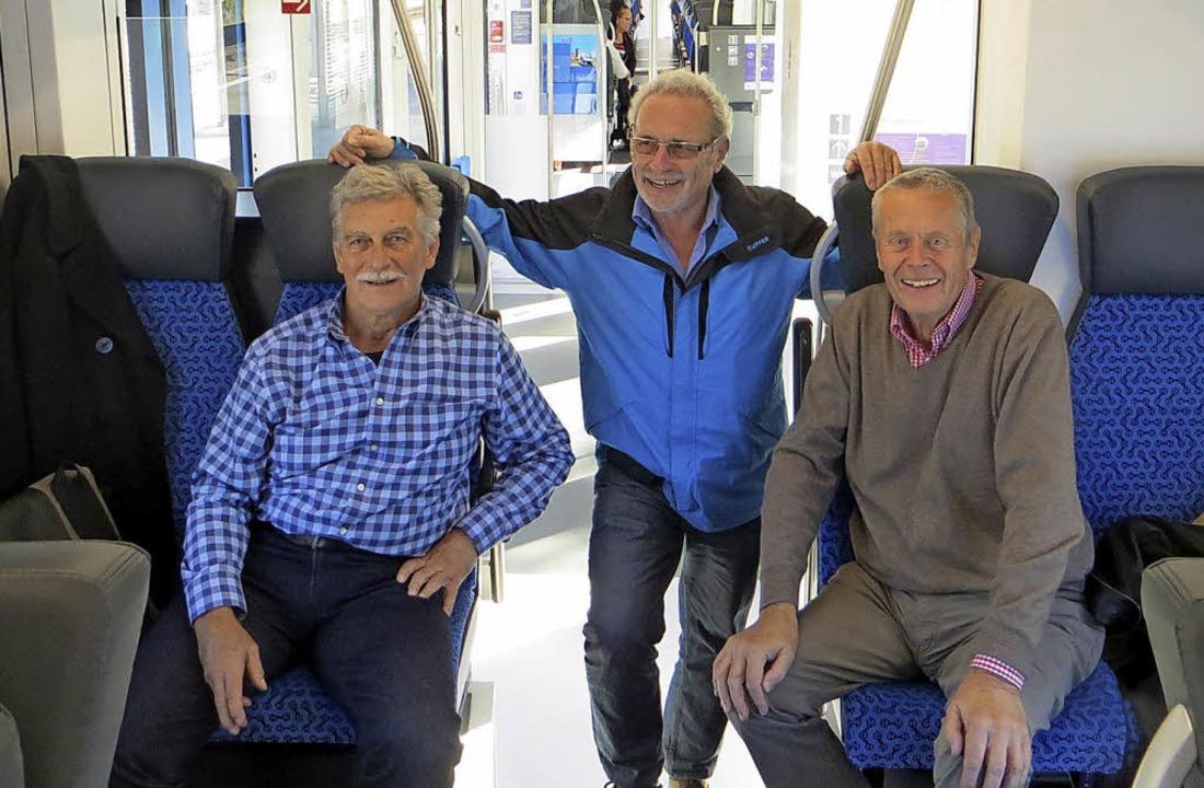 Peter Oehler, Peter Völker und   Detle...hunternommen  - und waren begeistert.   | Foto: dpa, Kurt Spittler