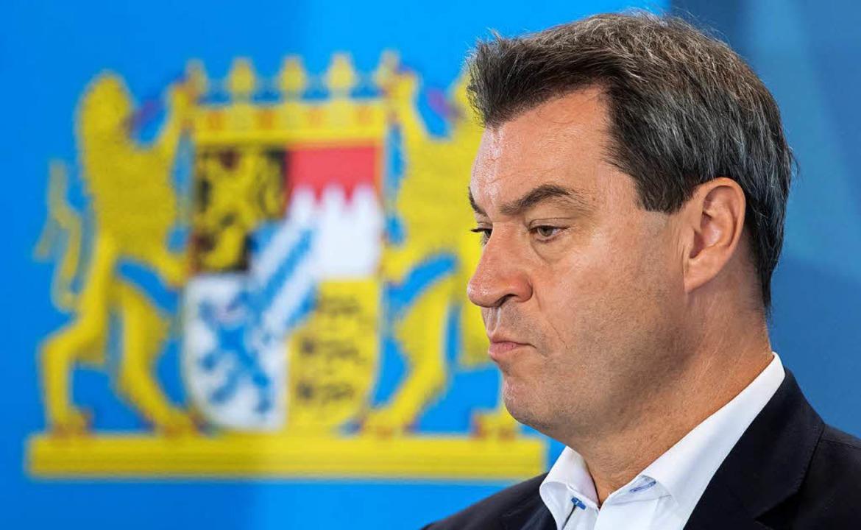 Bayerns Ministerpräsident Markus Söder in der bayerischen Staatskanzlei  | Foto: dpa