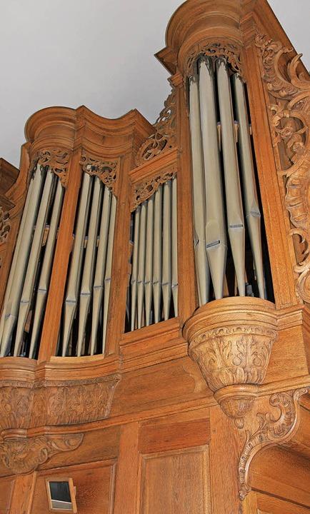 Imposant: die sanierte Orgel in der Pfarrkirche St. Bartholomäus in Heitersheim   | Foto: Sabine Model