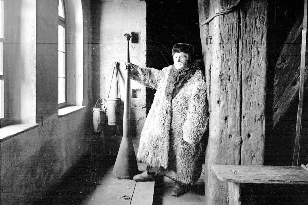 Der Türmer Simon Baldinger mit der &#8...; (Aufnahme von Georg Röbcke, um 1900)  | Foto: ?