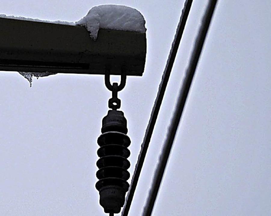 Schnee und Eis auf der Freileitung haben vielfach zu Stromausfällen geführt.     Foto: Susanne Gilg