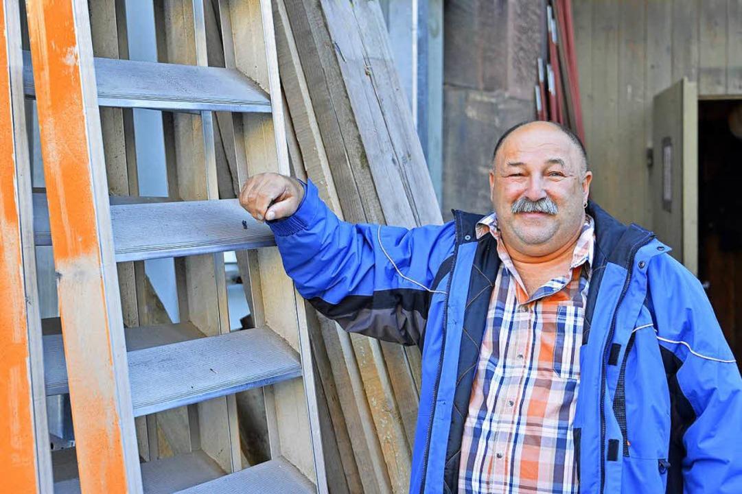 Gerüstbauer Denny Waizmann von Gerüstbau Becker  | Foto: Michael Bamberger