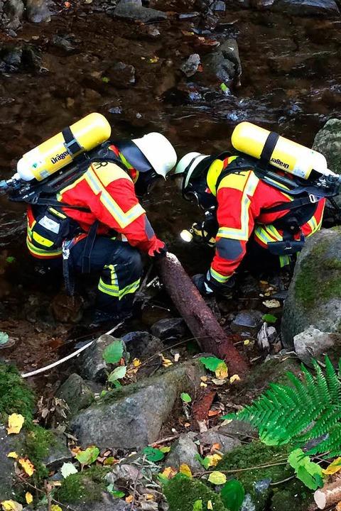 Buchenbacher Feuerwehrmänner bergen die Flache.  | Foto: Erich Krieger