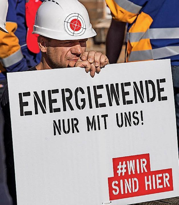 Demonstrant in der Lausitz  | Foto: dpa