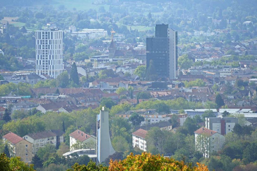 Die nördliche Innenstadt von Lörrach r...mitte) sollen Sanierungsgebiet werden.    Foto: Peter Gerigk