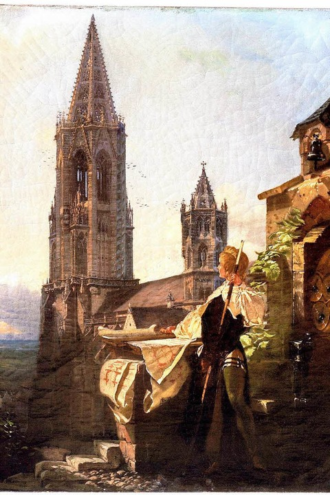 Turmbaumeister mit Blick auf den Münst...Gemälde von August von Bayer, um 1860)    Foto: Augustinermuseum