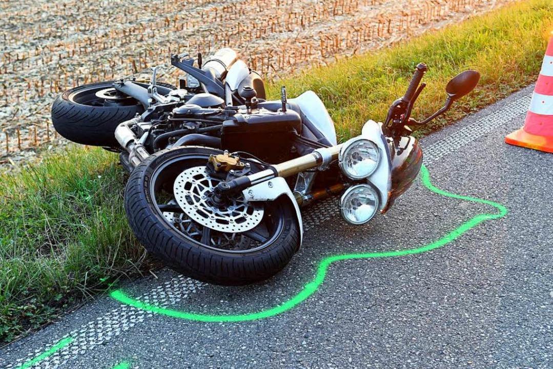 Das verunglückte Motorrad    Foto: Wolfgang Künstle