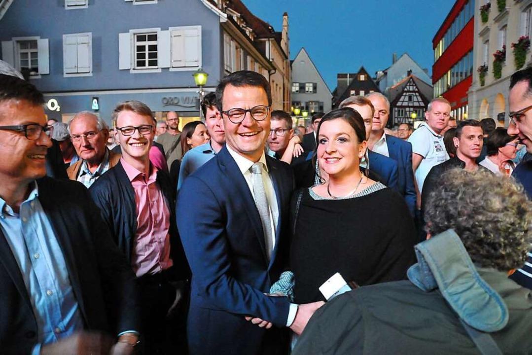 Wahlsieger:  Marco Steffens, künftiger...reuter CDU-Fraktionschef Albert Glatt.  | Foto: Helmut Seller