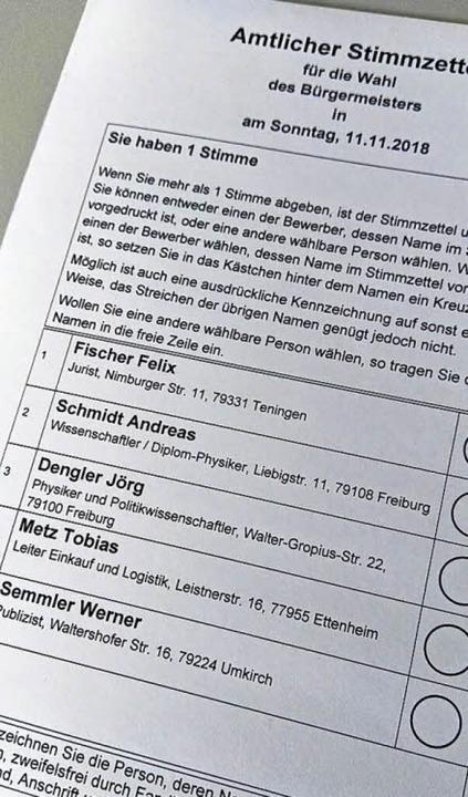 So soll der Stimmzettel für die Bürgermeisterwahl in Endingen aussehen.     Foto: Martin Wendel