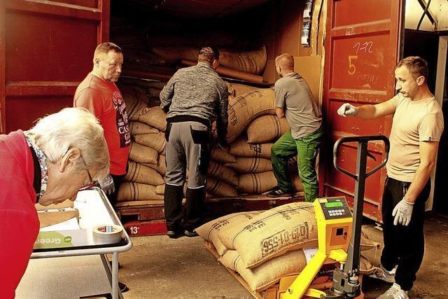 18 Tonnen Rohkaffee eingetroffen
