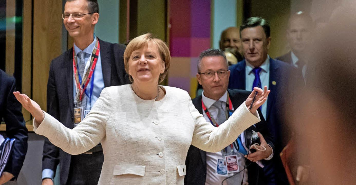 Bundeskanzlerin Merkel beim EU-Gipfel in Brüssel   | Foto: DPA