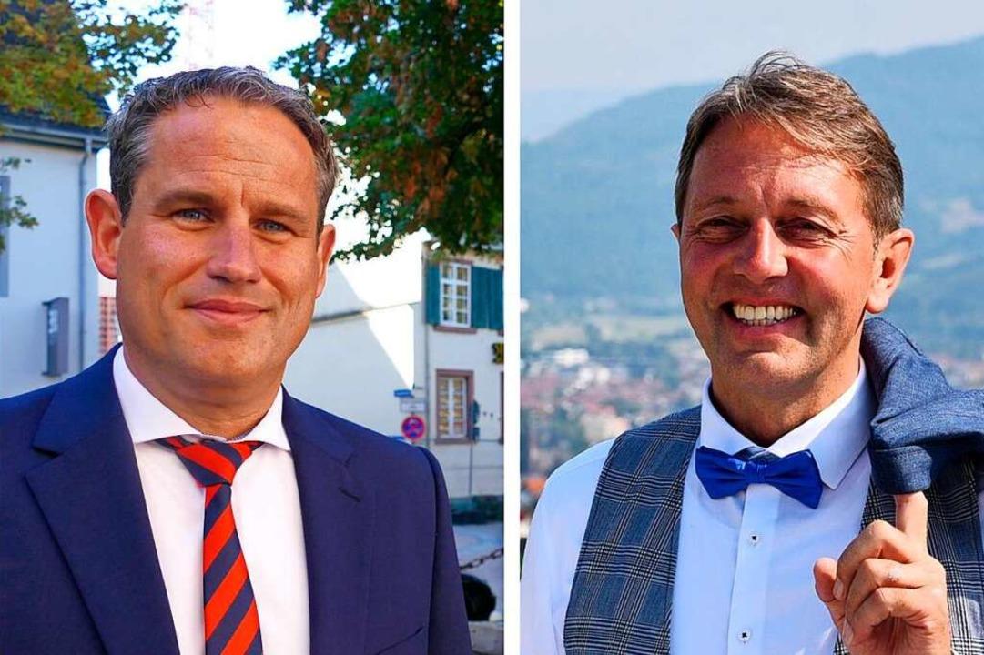 Konkurrenten um das Amt des Bürgermeis...ren Dirk Harscher und Josef Haberstroh  | Foto: Hönig/Privat