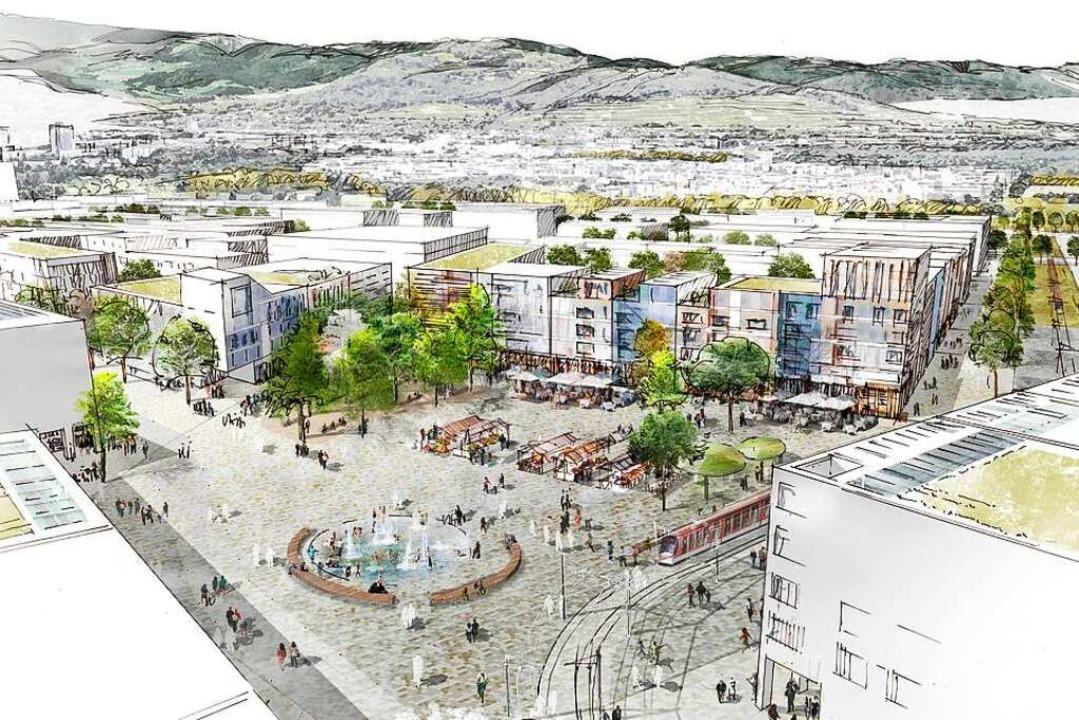 Der zentrale Platz im neuen Stadtteil auf einer Visualisierung  | Foto: K9 Architekten