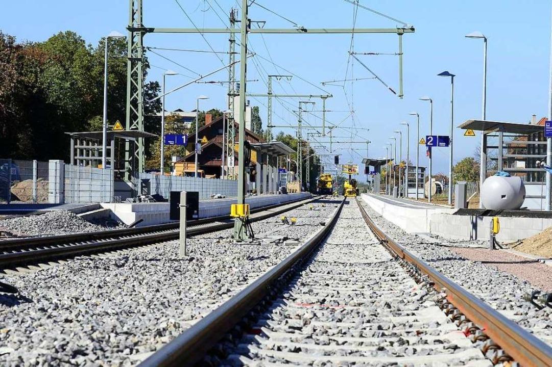 Zwei Gleise hat der Bahnhof Littenweiler nun    Foto: Ingo Schneider
