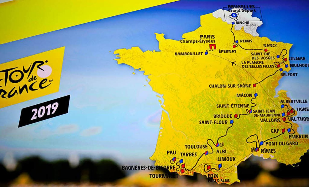Der Streckenverlauf bringt die Tour nächstes Jahr unsere Nähe.  | Foto: AFP