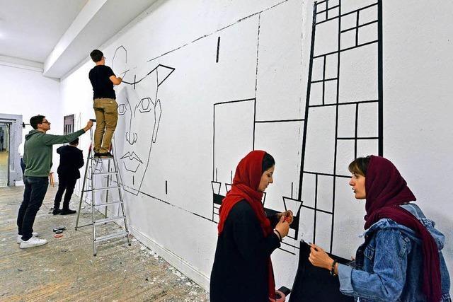 Studierende aus Isfahan und Freiburg erschaffen gemeinsam Tape-Art