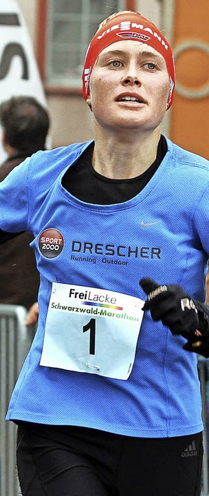 Stefanie Doll läuft beim Frankfurt-Mar...treckehälfte schneller als die erste.   | Foto: Rein