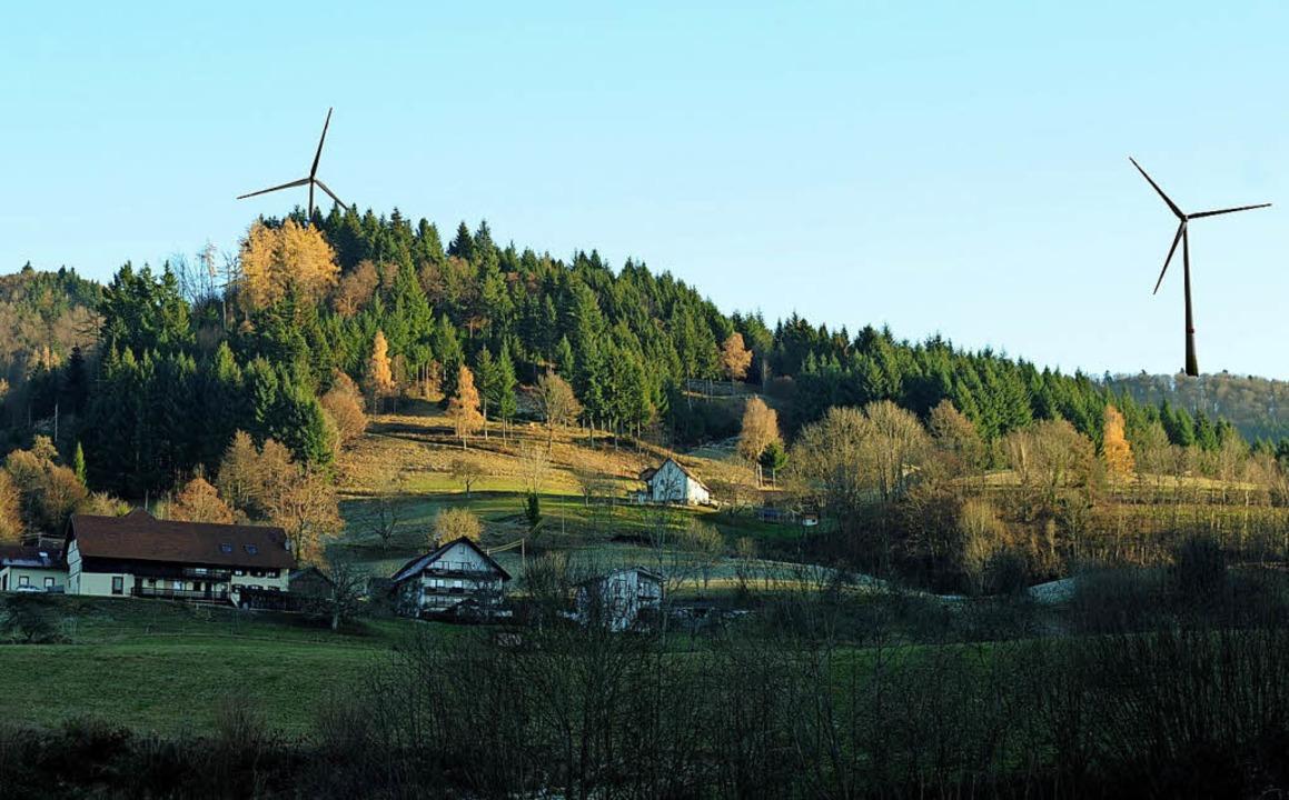 So wie auf dieser Fotomontage könnte e...er Malsburg-Marzell  einmal aussehen.   | Foto: Fotomontage : Windkraft Schonach