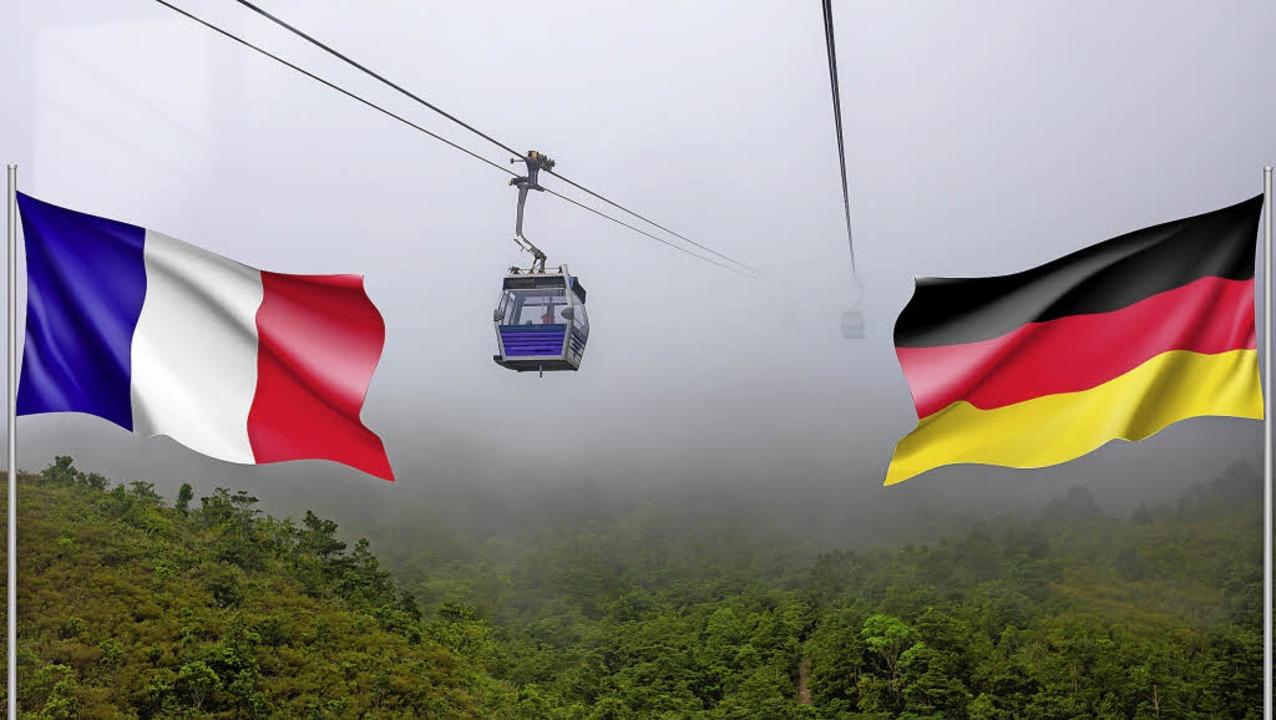 Fährt bald eine solche Gondel zwischen dem Europa-Park und dem Elsass?   | Foto: fotos: adobe.com/Montage:BZ